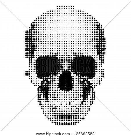 Halftone skull image in black and white. Danger sign