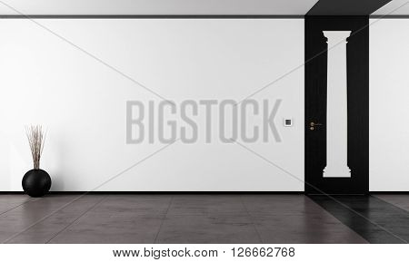 Black and white empty room with shape of classical columns on doors - 3D Rendering