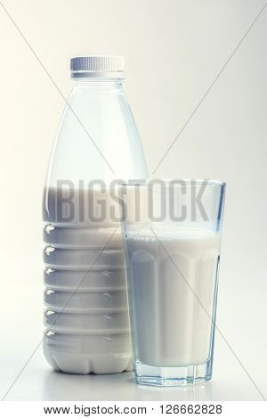bottle and glass with milk