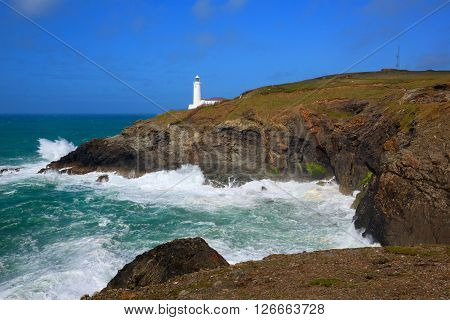 Trevose Head Lighthouse North Cornwall coast between Newquay and Padstow English maritime building in rich colours