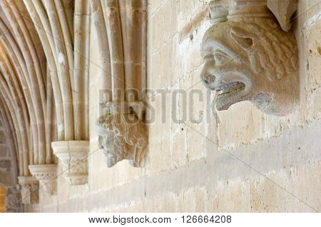 Sculpture in Cloister of cistercian Veruela Monastery, Saragossa, Aragon, Spain