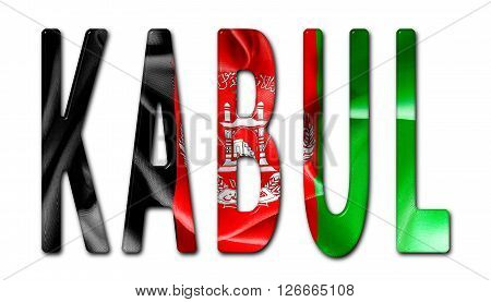 Kabul word with a bevelled Afghanistan flag texture on an isolated white background with a clipping path with and without shadows