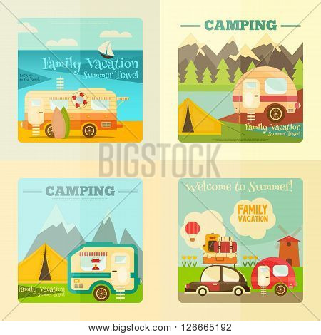Camping with Family Trailer Caravan. Campsite Landscape with RV Traveler Truck and Tent. Outdoor Traveling Vacation. Posters Set. Vector Illustration.