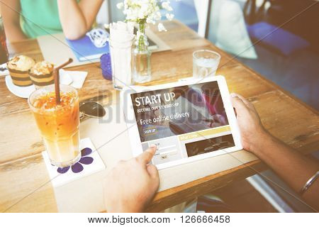 Digital Device Internet Cafe Technology Network Concept