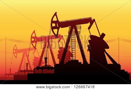 Vector illustration of Working Oil Pumps and Drilling Rig Oil Pump