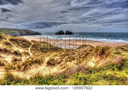 Holywell bay north cornwall coast england uk near newquay and crantock in colourful hdr