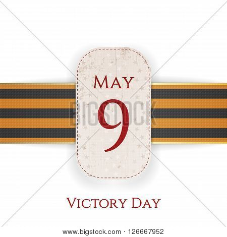 May 9 Victory Day realistic paper banner Template with st. George Ribbon isolated on white Background. Vector Illustration