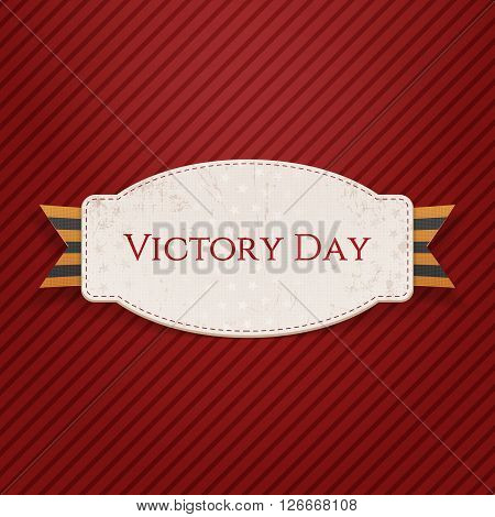 Victory Day. Realistic paper Banner Template with st. George Ribbon on red striped Background. Vector Illustration
