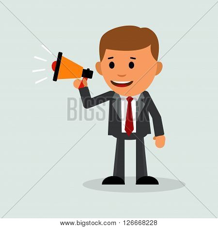 Businessman with loudspeaker. Business vector. Business man shouting in a megaphone. Announcing. Promotion. Vector illustration in a flat design style.