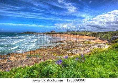 Fistral beach Newquay Cornwall uk with bluebells in spring in colourful hdr with cloudscape