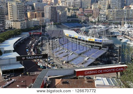 MONACO - APRIL 13 2015: Preparations for the Monaco Grand Prix 2015. The Monaco Grand Prix is a Formula One motor race held on Circuit de Monaco a narrow course laid out in the streets of Monaco.
