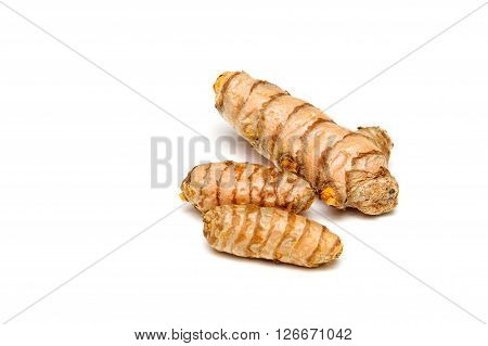 Turmeric Rhizomes Over White