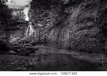 Brandywine Falls in Cuyahoga Valley National Park Ohio. A gorgeous 65 foot falls seen here in late summer from the creek bed.