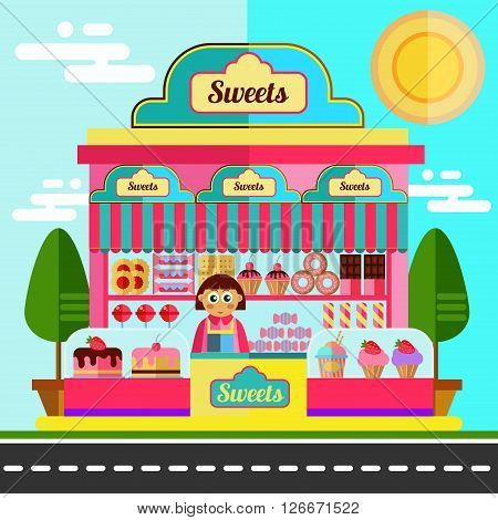 Sweets market. Corner shop with different sweets, muffins, donuts, cupcakes and other.