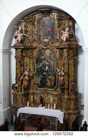 KOTARI, CROATIA - SEPTEMBER 16: Saint Mary altar in the church of Saint Leonard of Noblac in Kotari, Croatia on September 16, 2015.