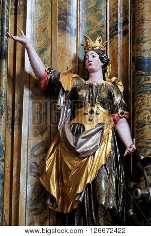 KOTARI, CROATIA - SEPTEMBER 16: Statue of Saint Catherine of Alexandria on the Saint Mary altar in the church of Saint Leonard of Noblac in Kotari, Croatia on September 16, 2015.