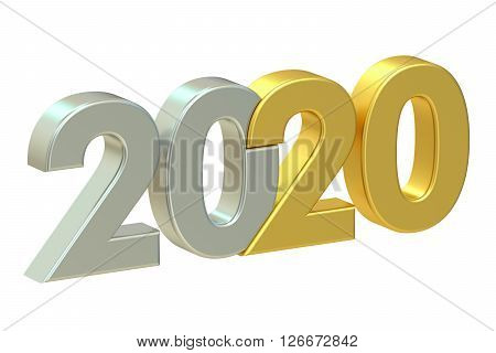 2020 concept 3D rendering isolated on white background