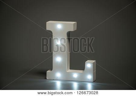 Decorative Letter L With Embedded Led Lights