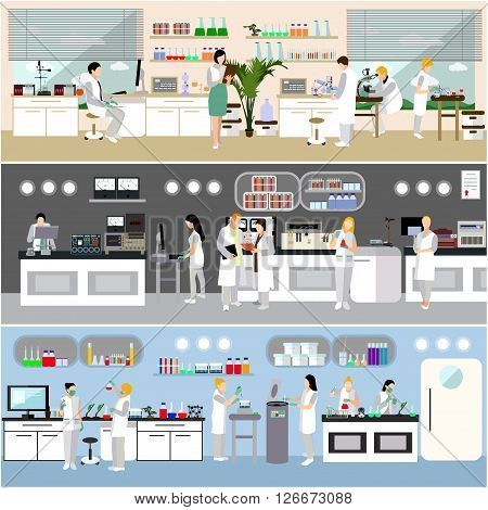 Scientist working in laboratory vector illustration. Science lab interior. Biology, Physics and Chemistry education concept.