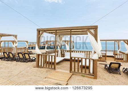 The veranda on a beach in a recreation area