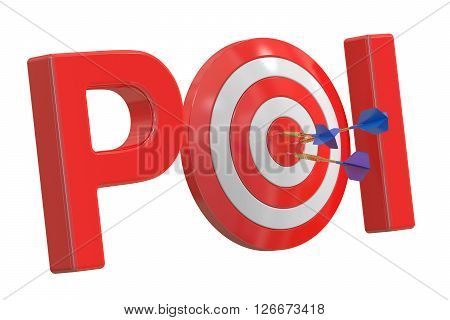 POI concept 3D rendering isolated on white background
