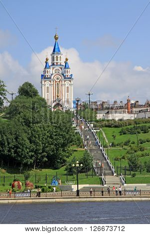 Khabarovsk, Russia - August 16, 2013: The Dormition Cathedral Of Khabarovsk Near  The Amur River Emb