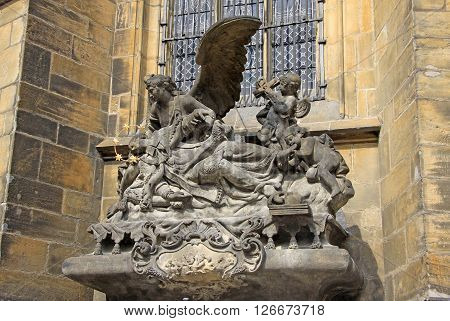 Prague, Czech Republic - April 23, 2013: Sculpture Of St. John Of Nepomuk At St. Vitus Cathedral In