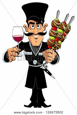 Caucasian man in national costume with kebab and wine