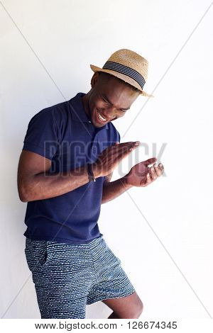 Happy Young African Man Clapping Hands