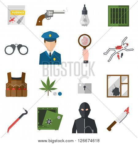 Crime icons protection law justice sign security police gun icon in flat colors vector.