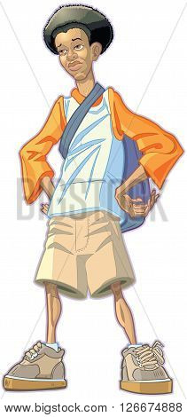 Vector Cartoon Illustration of an African American Teen Boy Student Wearing a Backpack.