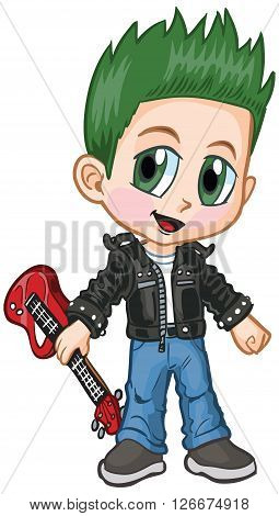 Vector cartoon clip art of a caucasian boy in a punk rocker costume drawn in an anime or manga style. He is in a
