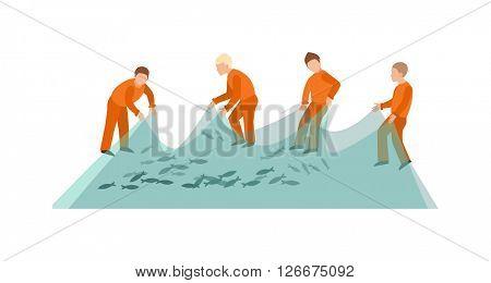 Fishing net fish sea catch instrument and fishermen working tool vector.