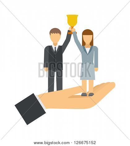 Successful team business leaders corporate professional teamwork concept vector illustration.