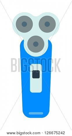Electric shaver over white background razor shave male equipment power beauty technology vector.