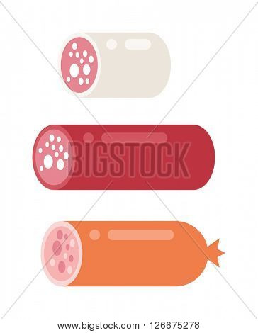Smoked salami sausage isolated barbecue unhealthy eat fat smoked fresh bratwurst vector.