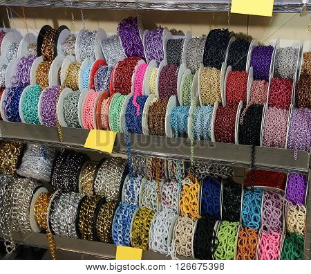 Necklaces For Sale Per Meter In The Wholesaler's Shop