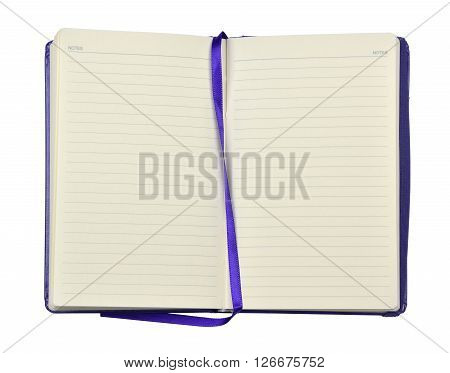 Open blue agenda or planner with pages with lines and blue band in the middle on white background