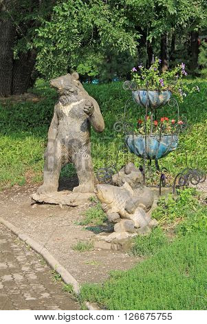 Khabarovsk, Russia - August 14, 2013: Statue Of A Bear Near Khabarovsk City Ponds