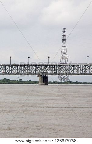 Khabarovsk, Russia - August 16, 2013: Bridge Across The Amur River.  Khabarovsk Bridge Is Depicted O