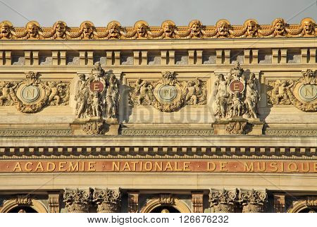 Paris, France - December 16, 2011: Architectural Details Of Opera National De Paris (grand Opera Or