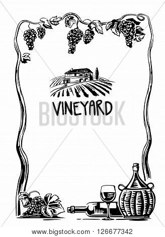 Rural landscape with villa and vineyard fields. Bunch of grapes, a bottle, a glass and a jug of wine. Black and white vintage vector high illustration for label, poster, web, icon