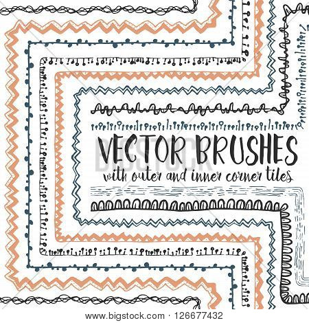 Vector set of 10 hand drawn decorative seamless pattern brushes with outer and inner corner tiles. Endless whimsical ink borders for frames, decorations, elements, dividers.Brushes are included in eps