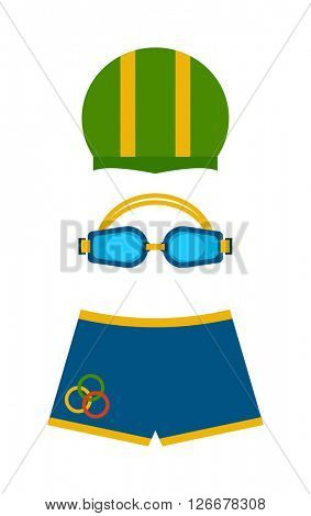 Clothes swimmers sportswear swim fins color protection for eyes and hat vector.