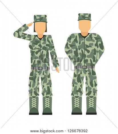 Military people soldier in uniform avatar character set isolated vector illustration.