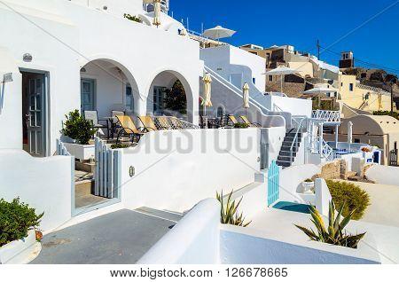 IMEROVIGLI, SANTORINI, GREECE - AUGUST 20, 2015: Traditional white architecture of Santorini island, Greece