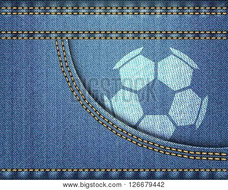 Soccer Ball On Jeans On Blue Jeans