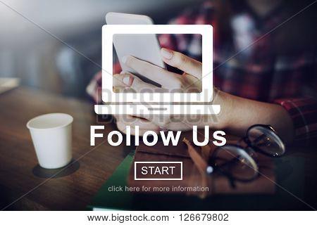 Follow us Technology Social Media Digital Concept