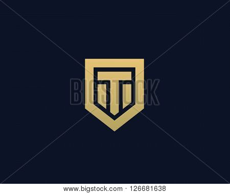 Abstract letter T shield logo design template. Premium nominal monogram business sign. Universal foundation vector icon