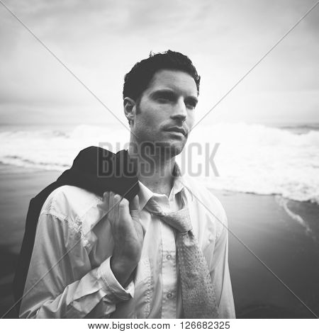 Businessman Thinking Beach Serious Face Dark Concept